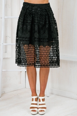 Starry Night Flare Midi Skirt - Black-SALE