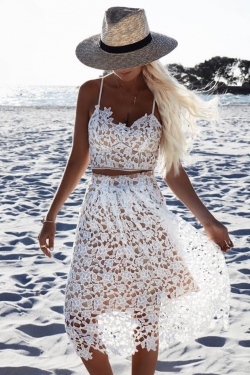 Race day lace bustier crop top - White