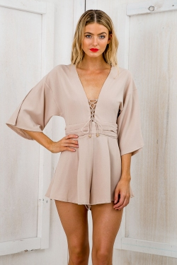 Cruise lace up playsuit- Nude