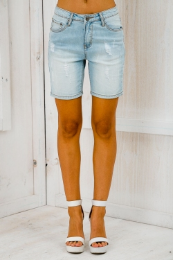 Cate denim shorts - Light blue