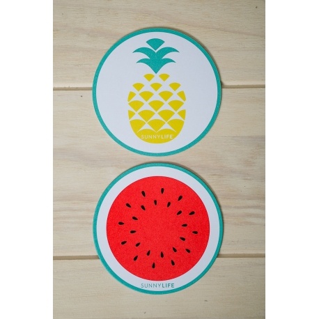 Coasters 16 Set - Pineapple Watermelon