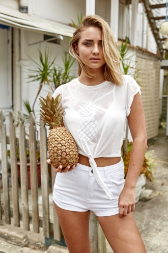 STELLY THE LABEL Pineapple Crush Tie Cropped Top - White SALE