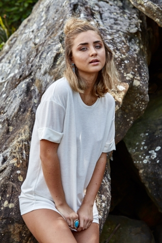STELLY THE LABEL Oversized Tee Dress - White-SALE