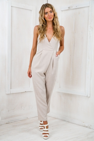 Watch me V-Neck Jumpsuit - Beige