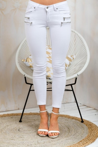 Berry Syrup Womens Skinny Leg Jeans - White