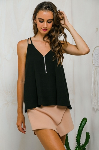 In the summertime cami top - Black-SALE
