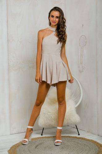 Blame me fit and flare playsuit - Beige