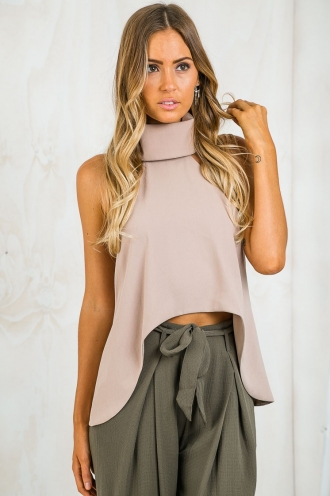 Mila Turtle Neck Top - Taupe