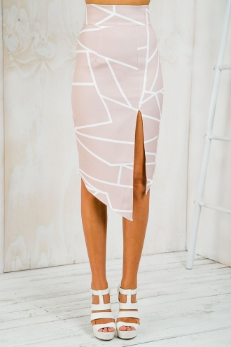 Planet Jupiter Pencil Skirt - Nude/White Abstract-SALE