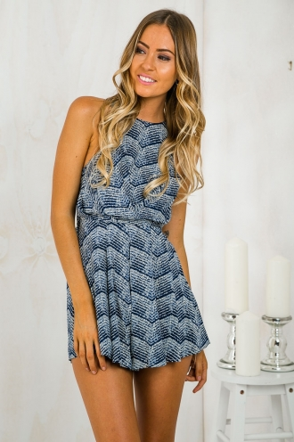 Dreams are made tie playsuit -Navy Blue