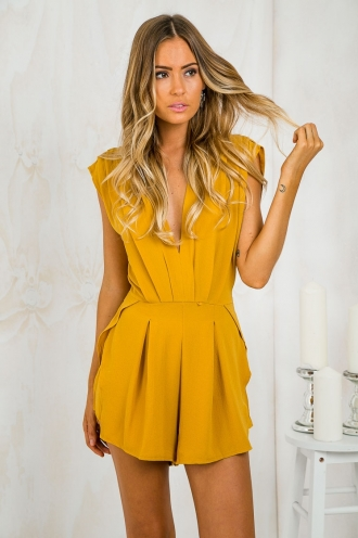 Wake Me Up Pleated Playsuit - Mustard Yellow