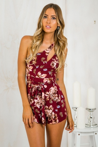 REPLACE Risky Business one shoulder playsuit - Maroon Floral