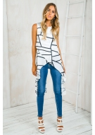 Free falling sleeveless top- White/Black Abstract Line