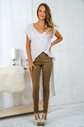 Forever and always high low top - Beige Print