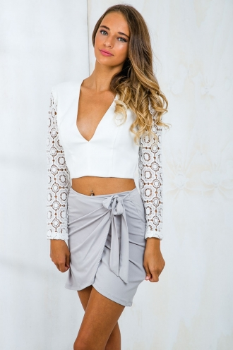 Lila lace crop top - White SALE