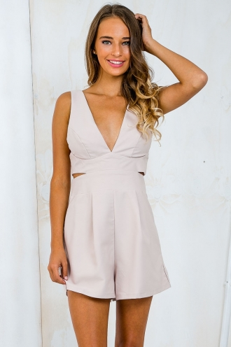 Pop a Bottle Cutout Playsuit - Beige