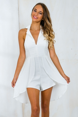 Marylyn layered playsuit - White