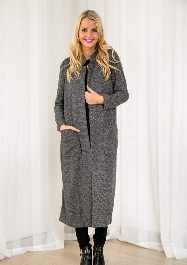 Spiced Rum Pudding Womens Long Cardigan - Black Speckle