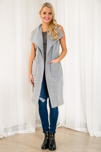 Ginger Biscuits Womens Long Vest - Grey