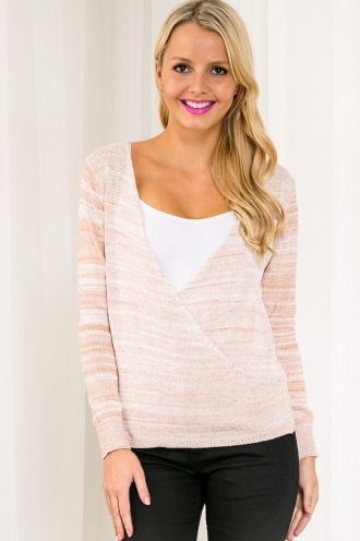 Honeycomb Popcorn Womens Knitted Top - Sandstone/White