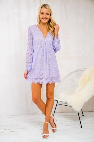 Almond Cake Womens Lace Dress - Lilac-SALE