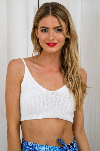 Rachel knit crop top - White-SALE