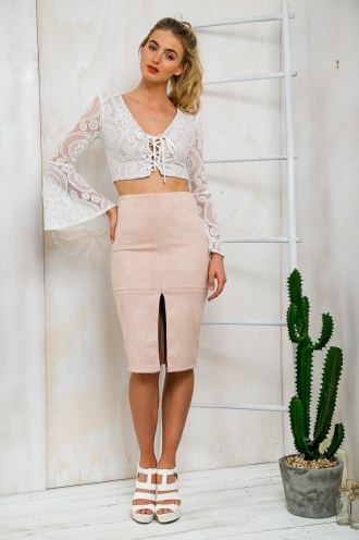Cherry Macaroon Womens Pencil Skirt - Beige