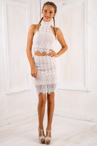 Evie lace skirt - White