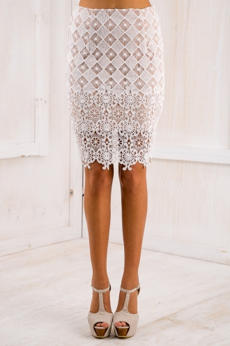 Evie lace skirt - White-SALE