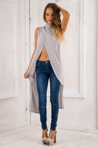 Louisa Cross Over Top - Grey