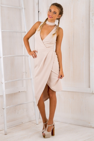 Chevaun Midi Dress - Beige-SALE