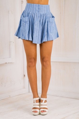 Cant help myself pin stripe skirt - light blue