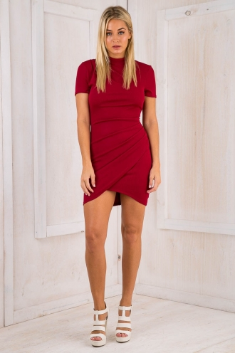 June mini dress - Maroon red