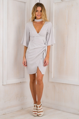 Sandie Wrap tie dress - Grey-SALE