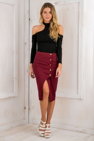 Sabrina pencil skirt - Maroon Red
