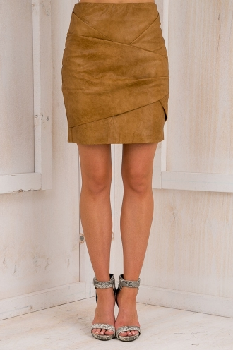 Sahara Leatherette skirt - Tan -SALE