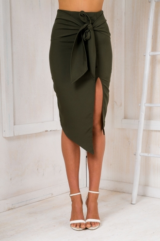 Atlanta sash skirt - Khaki-SALE