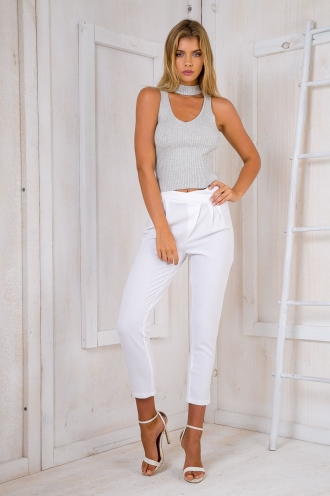 Jazzy ribbed top - Light Grey