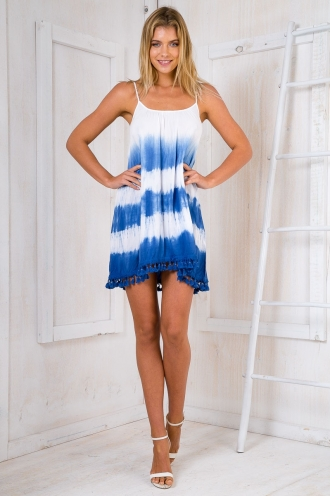 Live for today tie dye dress - Blue/White