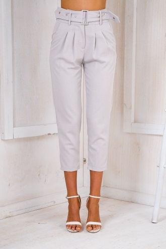 July belted pants - Light grey