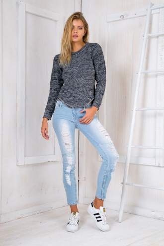 Rose Knitted Jumper - Navy