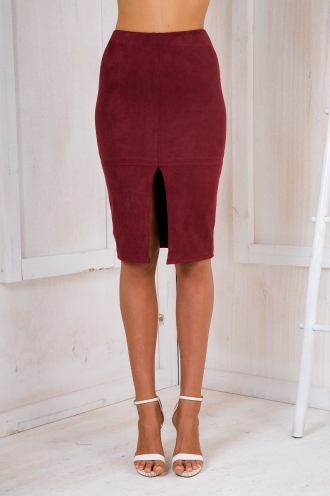 Maizy Suede skirt - Maroon