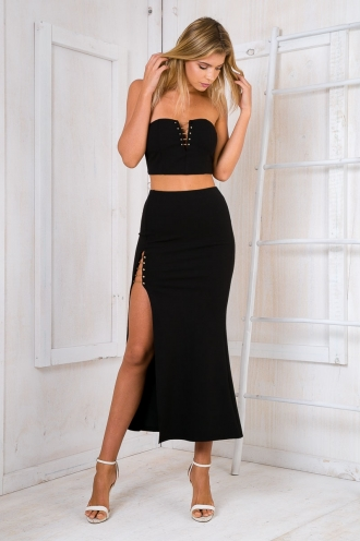 Rihanna bar maxi skirt - Black -SALE