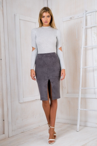 Maizy Suede skirt - Grey