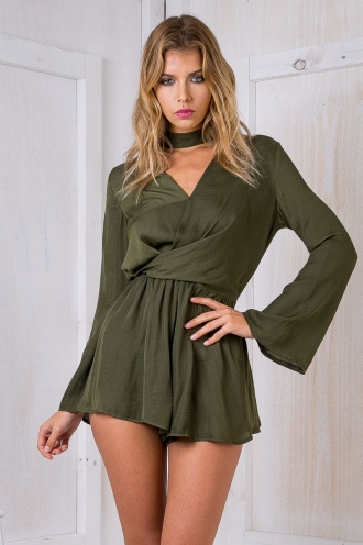 Gabby silky playsuit- Khaki -SALE