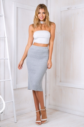 Roxanne Crop Top - Silver grey