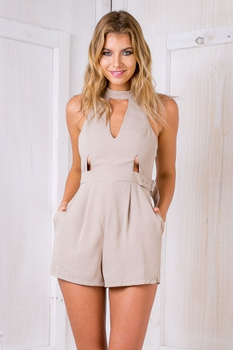 Who's That Girl Buckle Playsuit - Taupe SALE