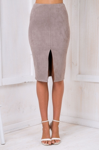 Maizy Suede skirt - Taupe