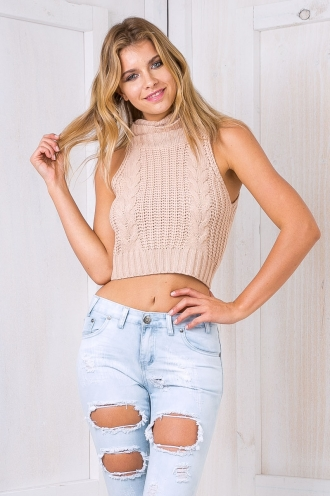 Tully turtle neck top - Beige SALE