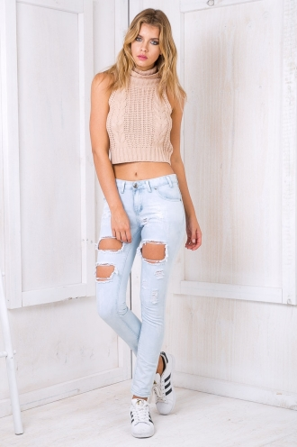Walk With Me Ripped Boyfriend Jeans - Washed Blue